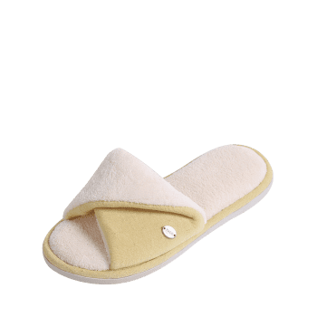 Open Toe Faux Fur House Slippers - YELLOW YELLOW