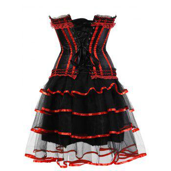 Two Piece Tier Flounce Corset Dress - RED L