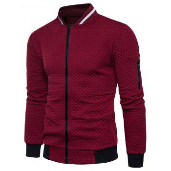 Rhomboids Emboss Zip Up Jacket - WINE RED XL