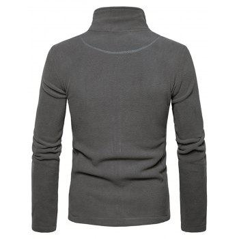 Suture Stand Collar Fleece Zip Up Jacket - GRAY GRAY
