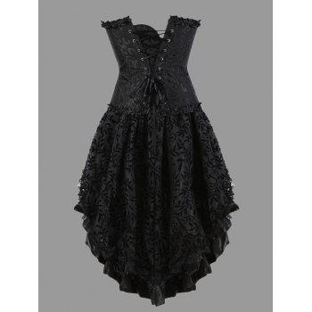 Flounce Plus Size Two Piece Corset Dress - BLACK 4XL