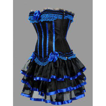 Plus Size Ruffles Two Piece Corset Dress - BLUE 4XL