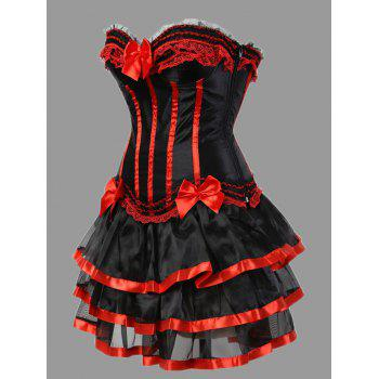 Plus Size Ruffles Two Piece Corset Dress - RED 5XL