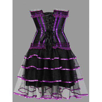 Plus Size Ruffles Two Piece Corset Dress - PURPLE 6XL