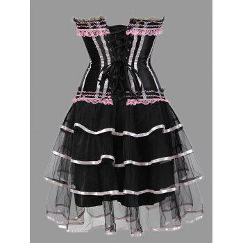 Tier Flounce Two Piece Plus Size Corset Dress - PINK 6XL