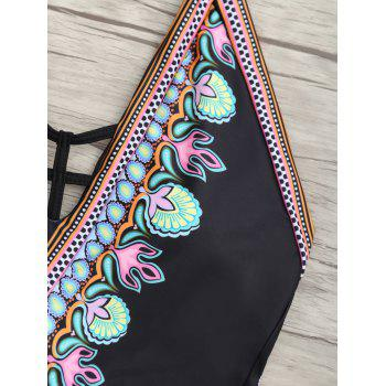 Low Back Halter Printed Swimsuit - BLACK M
