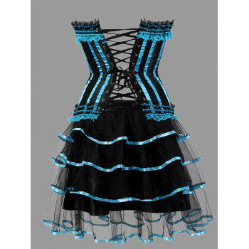 Tier Flounce Two Piece Plus Size Corset Dress - LIGHT BLUE 4XL
