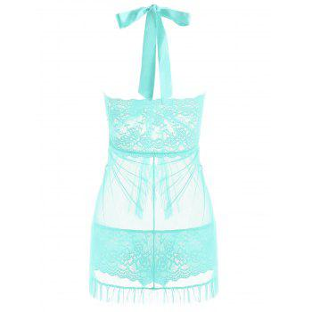 Halter Lace Split Ruffled Babydoll - LIGHT GREEN M