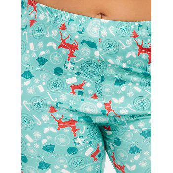 Plus Size Christmas Deer Pattern Pants - CLOUDY 3XL