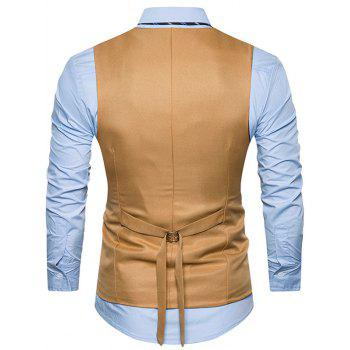 Single Breasted Belt Edging Waistcoat - KHAKI L