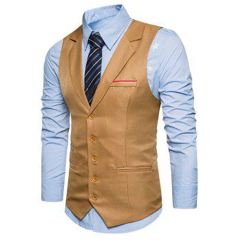 Single Breasted Belt Edging Waistcoat - KHAKI 2XL