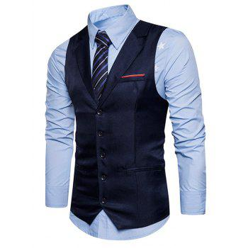 Single Breasted Belt Edging Waistcoat - CADETBLUE L