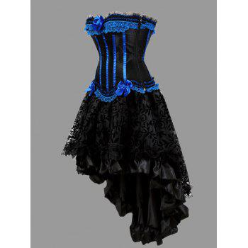 Asymmetric Plus Size Two Piece Corset Dress - BLUE 5XL