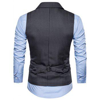Belt Double Breasted Vertical Stripe Waistcoat - DEEP GRAY S