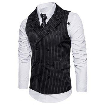 Belt Double Breasted Vertical Stripe Waistcoat - BLACK XL