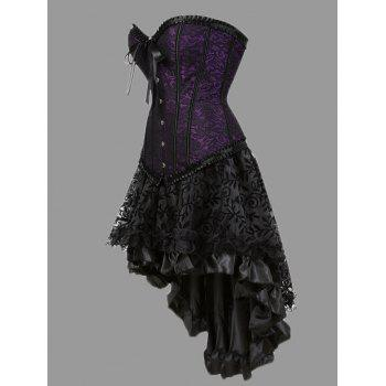 Plus Size Lace-up Two Piece Corset Dress - PURPLE 5XL