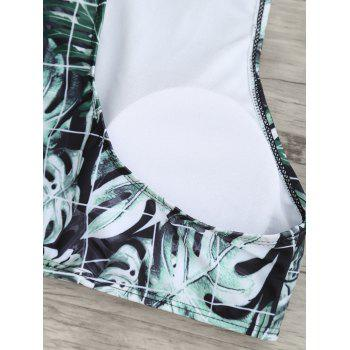 Zip Tropical Leaves Print Bikini Set - COLORMIX M