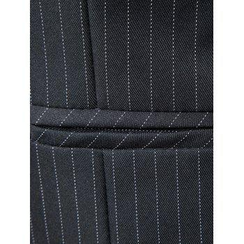 Belt Single Breasted Vertical Stripe Waistcoat - DEEP GRAY XL