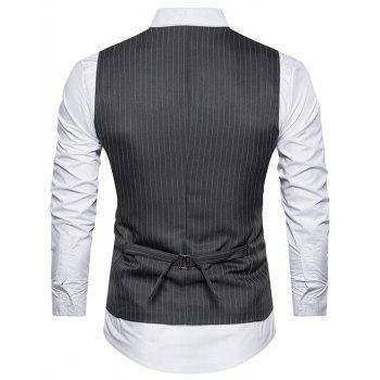 Belt Single Breasted Vertical Stripe Waistcoat - DEEP GRAY L