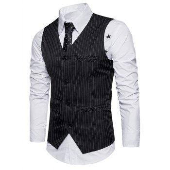 Belt Single Breasted Vertical Stripe Waistcoat - BLACK M