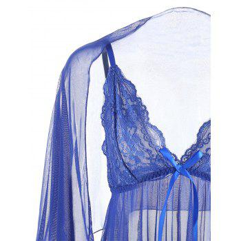 Mesh See Through Slip Babydoll - BLUE M