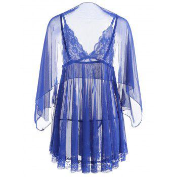 Mesh See Through Slip Babydoll - BLUE S