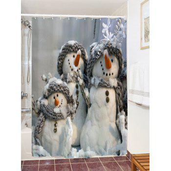 Snowman Printed Waterproof Polyester Shower Curtain - GRAY XL