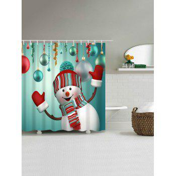 Waterproof Snowman Printed Bath Christmas Shower Curtain - BLUE GREEN L
