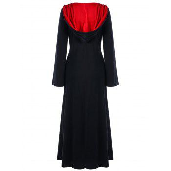 Plus Size Hooded Lace Up Maxi Dress - RED/BLACK 3XL