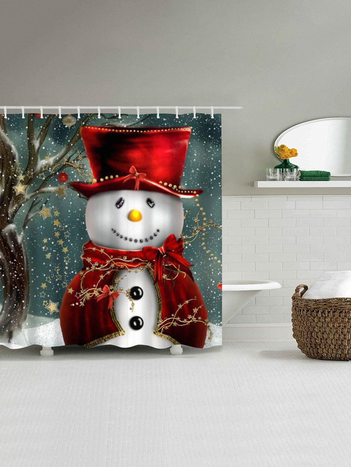 Christmas Snowman Bathroom Waterproof Shower Curtain waterproof christmas snowman pine pattern shower curtain