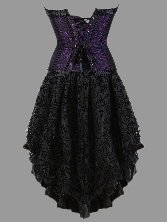 Plus Size Lace-up Two Piece Corset Dress - PURPLE 3XL