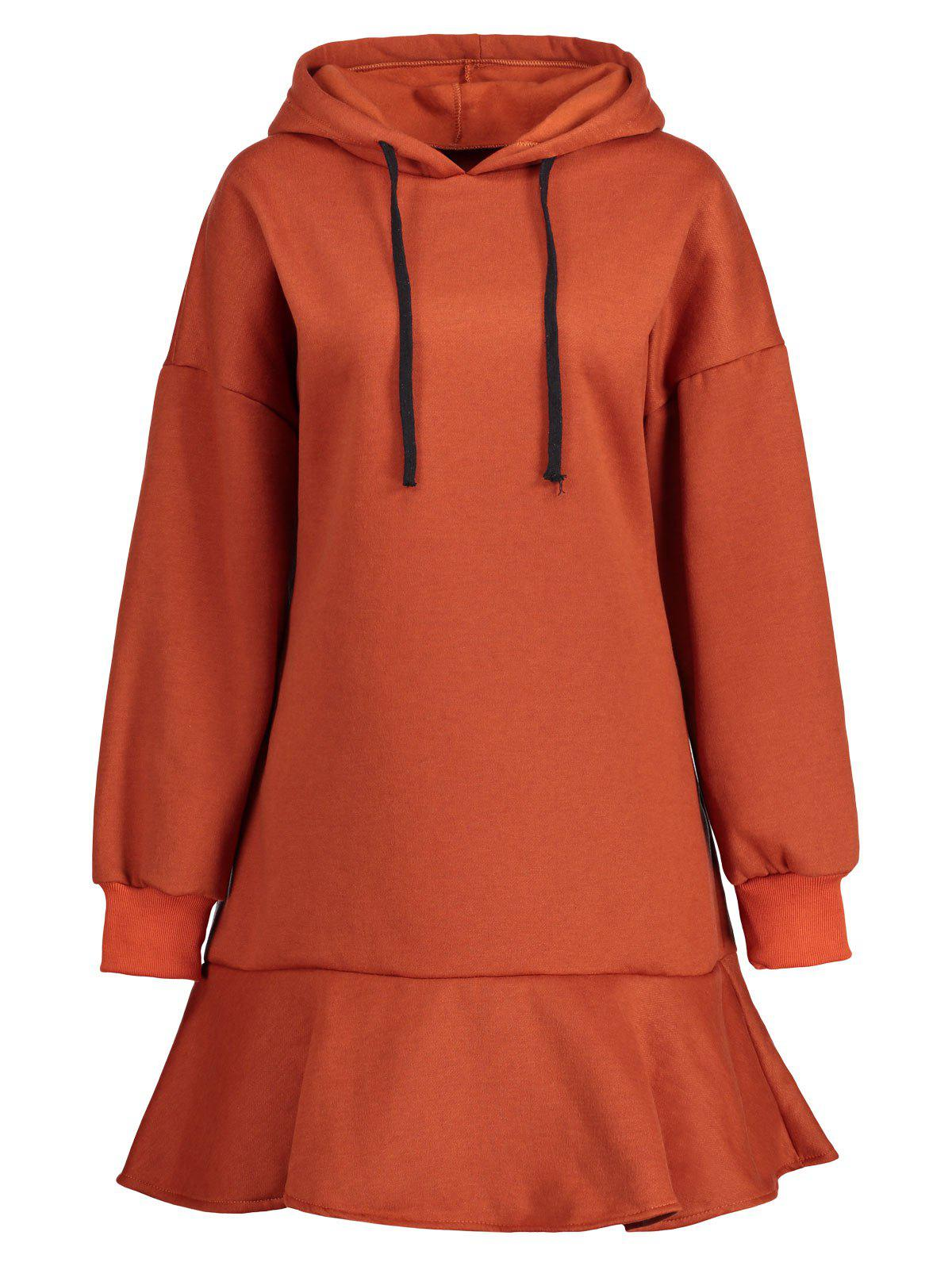 Plus Size Fleece Lined Drop Waist Hooded Dress - ORANGE RED 5XL