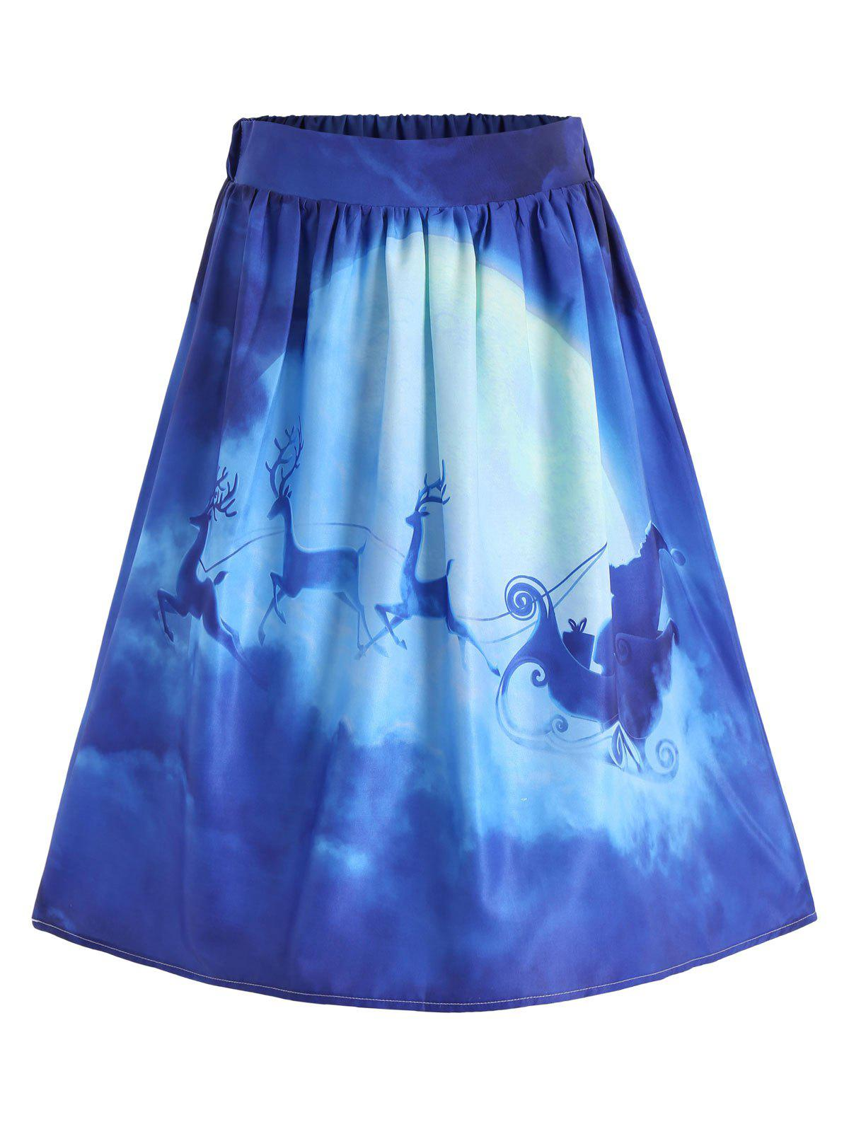Ugly Christmas Santa Claus Elk Skirt - BLUE S