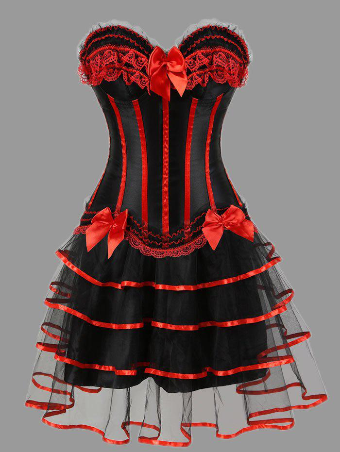 Tier Flounce Two Piece Plus Size Corset Dress - RED 4XL