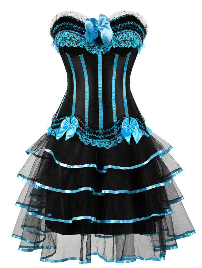 Two Piece Tier Flounce Corset Dress - LIGHT BLUE L