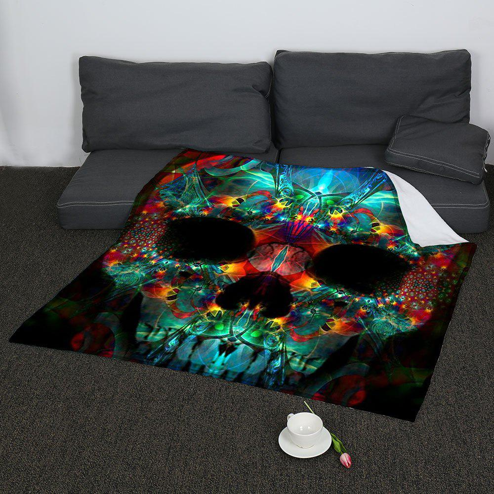 Halloween Colored Skull Printed Coral Fleece Blanket - COLORFUL W59 INCH * L79 INCH