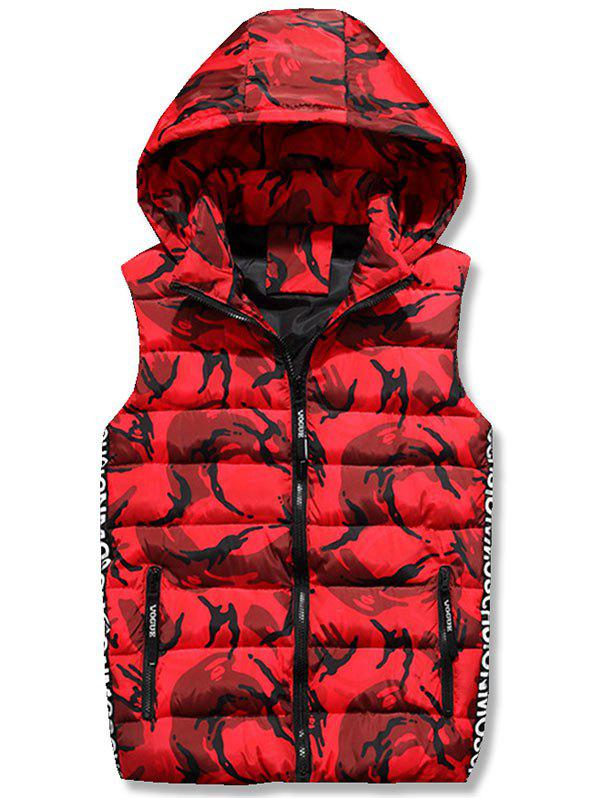 Veste matelassée à capuche Zipper Up Camo - Rouge M