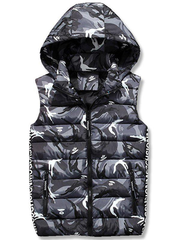 Zipper Up Camo Hooded Quilted Vest - GRAY XL