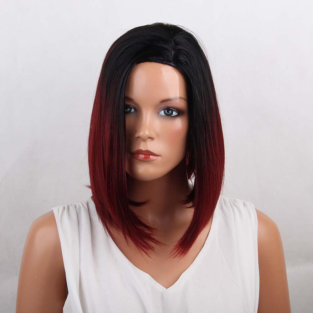 Medium Side Parting Straight Bob Ombre Synthetic Wig - COLORMIX