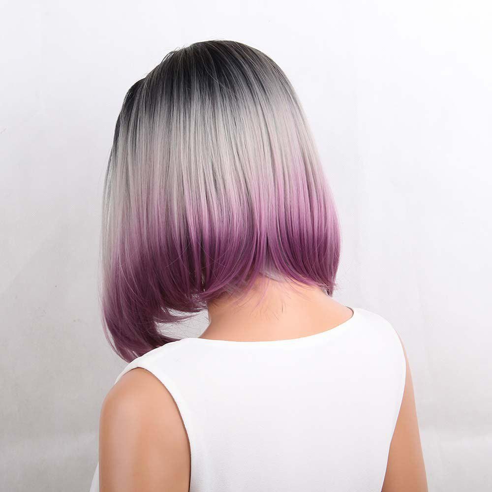 Medium Center Parting Straight Ombre Bob Synthetic Wig - COLORMIX