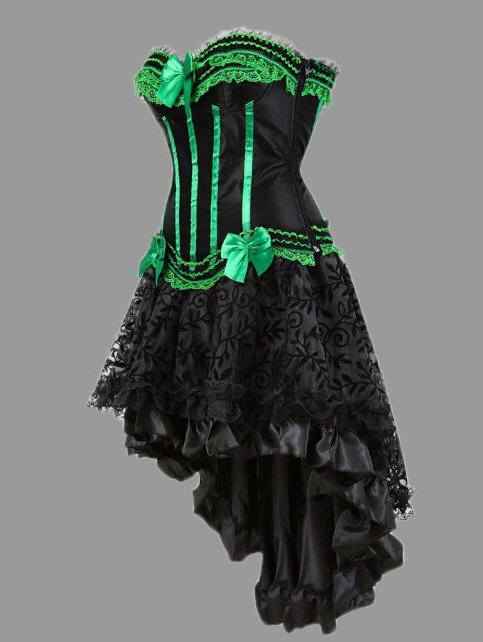 Asymmetric Plus Size Two Piece Corset Dress - GREEN 6XL