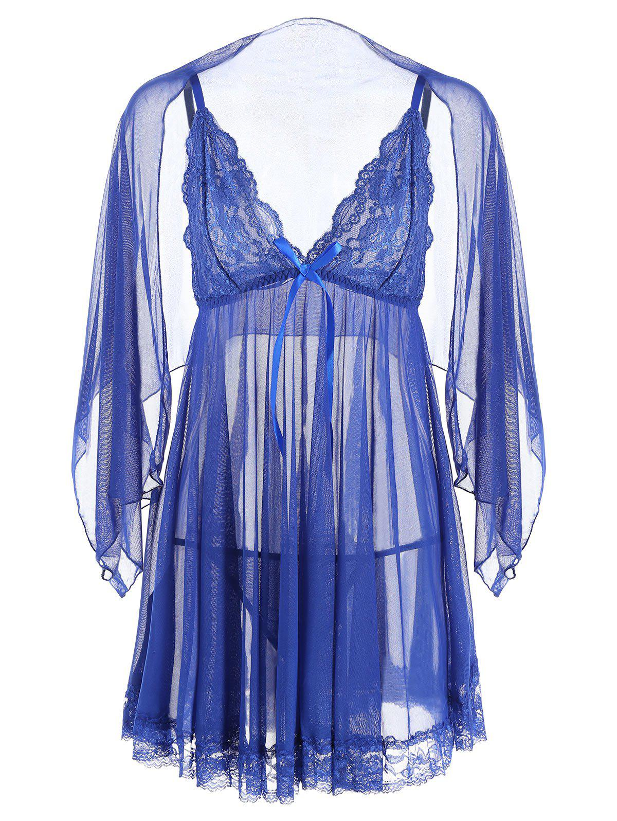 Mesh See Through Slide Slip Babydoll - Bleu XL