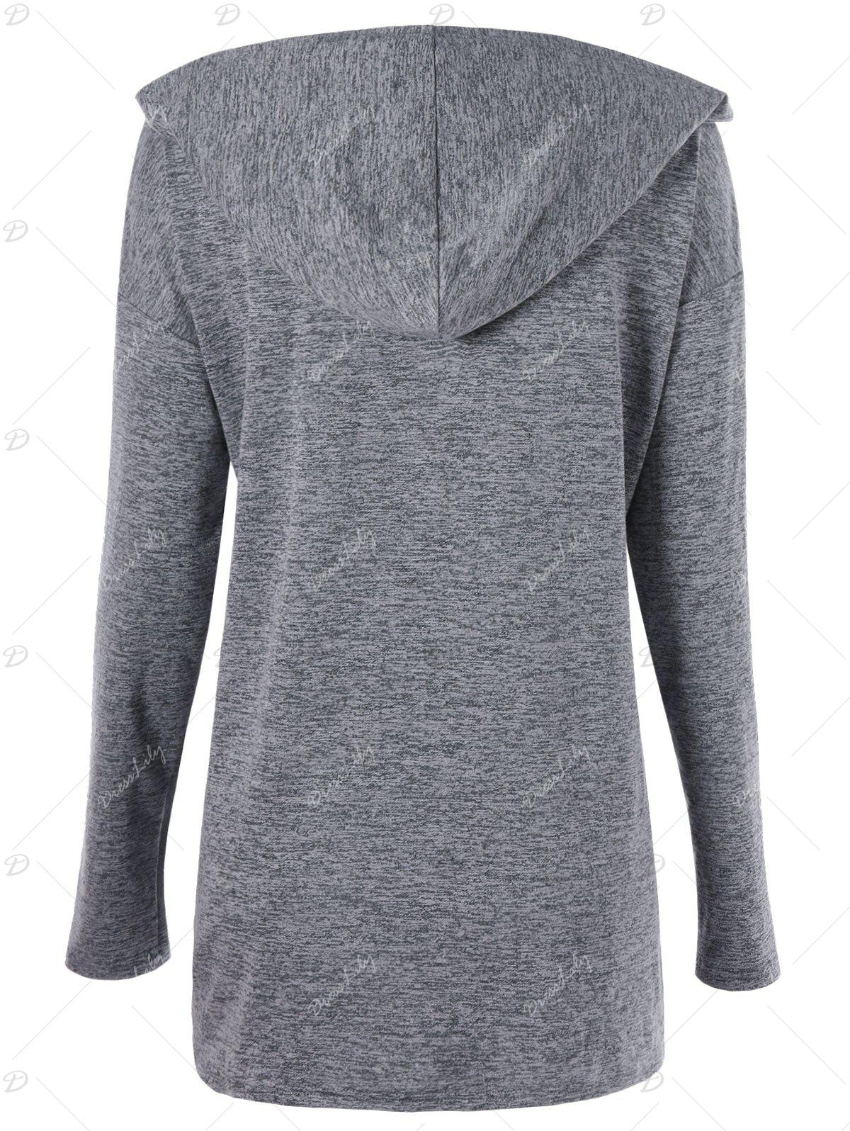 Plus Size Drop Shoulder Drawstring Ruched Hoodie - GRAY 5XL