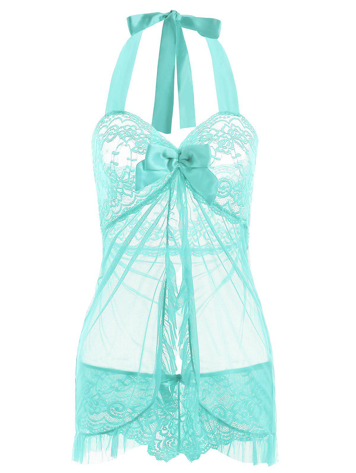 Halter Lace Split Ruffled Babydoll - LIGHT GREEN S