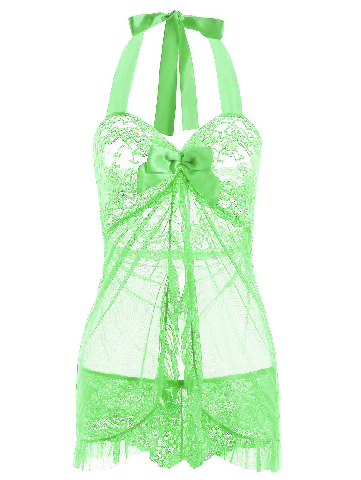 Halter Lace Split Ruffled Babydoll - GREEN XL