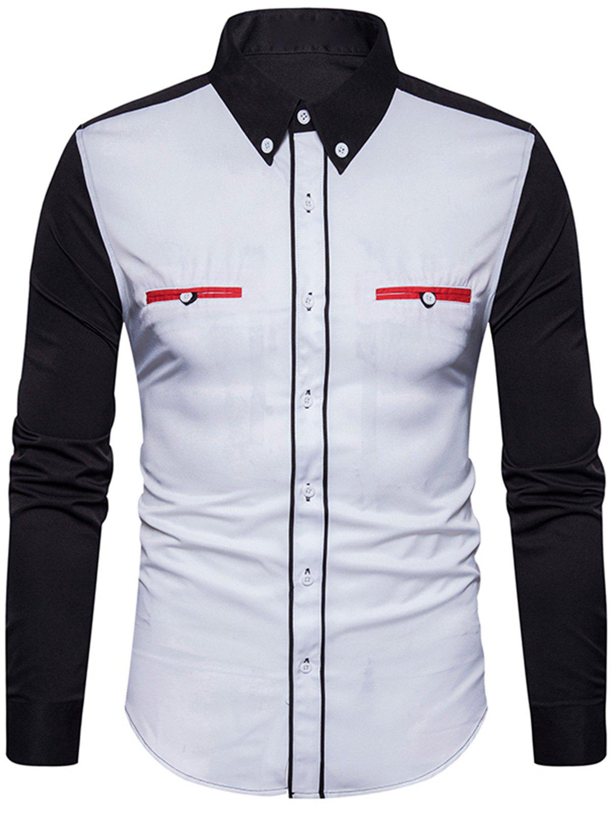 Edging Color Block Panel Button Down Shirt - Blanc XL