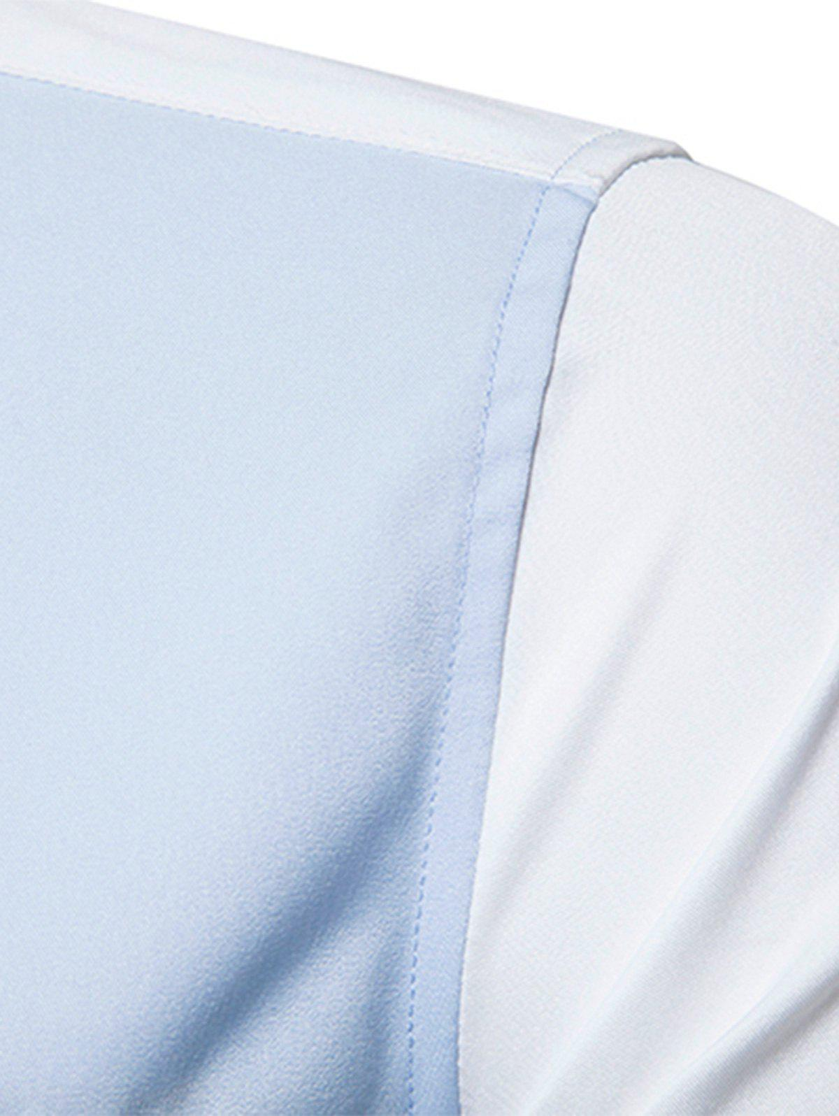 Edging Color Block Panel Button Down Shirt - Bleu clair M