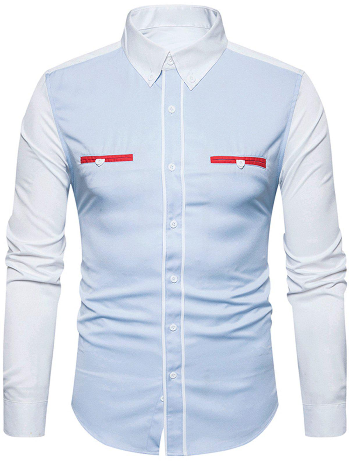 Edging Color Block Panel Button Down Shirt - Bleu Léger M