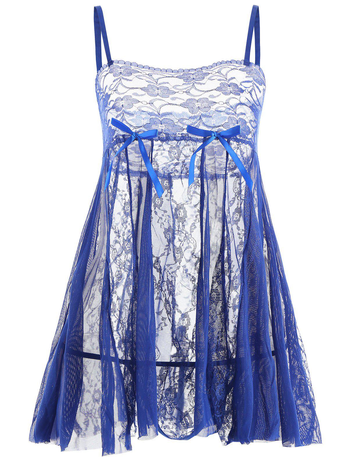 Lace Slip See Through Babydoll - BLUE XL