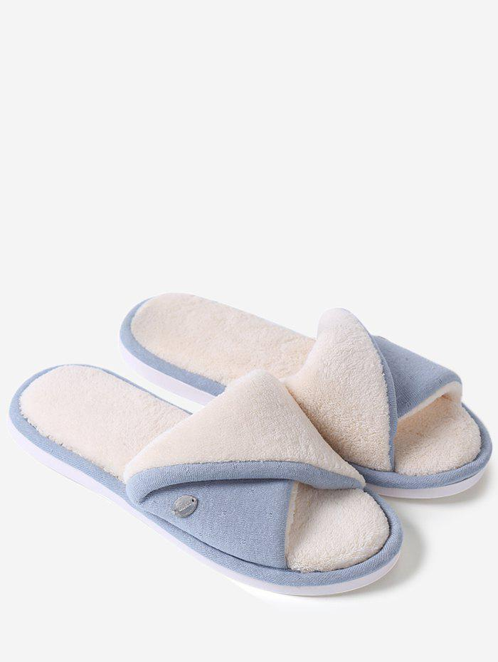 Open Toe Faux Fur House Slippers - BLUE SIZE(40-41)